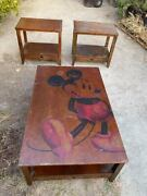 Rare Vintage Disney Store Mickey Mouse Furniture Coffee Table + 2 End Table Set