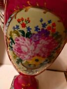 Vtg French Style Limoge-china Porcelain Rose/white Urn Hand Painted 19t10w