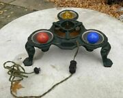 Vintage Antique Cast Iron Paw Foot Christmas Tree Stand With Lights