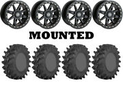 Kit 4 Sti Outback Max Tires 32x9.5-14 On Moose 544x Beadlock Black Wheels 1kxp