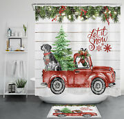 Red Truck Christmas Tree Cute Dog Shower Curtain Sets For Bathroom Decor And Hooks