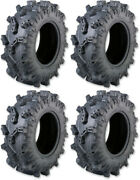 Four 4 Moose Aggro Atv Tires Set 2 Front 28x10-14 And 2 Rear 28x10-14
