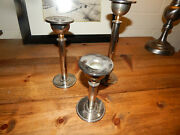 Lot Of 3 Vintage Ethan Allen Silver And Gold Trim Candle Stick Holders 6 810