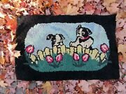 Vintage Hooked Rug Of Two Boston Terrier Dog Puppies In A Garden And Picket Fence