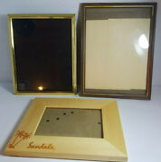 Lot Of 3 Frames-5x7 Sandles Wooden + 8x10 Gold Metal + 9x12 Metal - Preowned