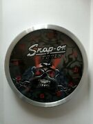 Snap-on Tools Silver Skull With Red Eyes Quartz Wall Clock Working