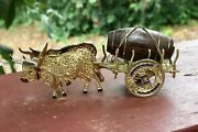 Antique Sterling And Enamel Fillagree Miniature, Tiny Ox Cart And Wood Barrow