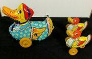 Mother Duck And 2 Baby Ducks Tin Toys W/ Wooden Wheels 1930s Wyandotte Toys