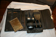 Antique Shaving Kit With Brushes, Williams Shaving Stick, Mirror And Leather Cas