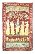 Old Vintage Lord Krishna Pichwai Gold Color Wall Hanging Collectible Antique Art