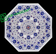 30and039and039 White Marble Table Top Center Coffee Dining Inlay Pietra Dura Mosaic P18