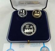 1995 Israel Port Of Caesarea-2000 Years Old Ship Gold And Silver Coins Set+box+coa