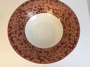 """F.giorgi By Ceramica Varm Made In Italy, 14"""" Console Bowl White, Red And Gold"""