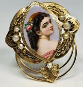 Antique 19th Century Swiss Enamel Portrait Maiden With Rose 14k Gold And Pearl Pin