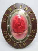 Carlingand039s Red Cap Ale Sign Old Rhtf Version Wood Planks Raised Letters Plym Co