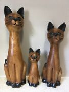 3 Wooden Siamese Cat Figurines Statues 1950s 1960s Mcm Blue Eyes 6 10 12