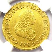 1769-pn J Colombia Charles Iii 2 Escudos Gold Coin 2e - Certified Ngc Au53