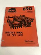 Rhino 890 Coulter Disc Chisel Plow Operators Manual And Parts Listing