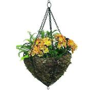 Scalloped Open Iron Hanging Basket Wall Planter Wire Flower Outdoor French Swirl