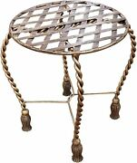 Twisted Iron Vanity Stool Tassel Romantic Gold Brass Round Swag Antique Style