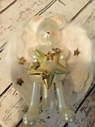 Cherry Designs 12andrdquo Glass Bear Angel Christmas Tree Topper W/ Feather Wings New