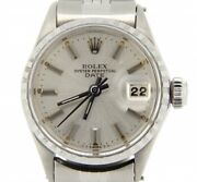 Vintage Rolex Date Ladies Stainless Steel Watch Jubilee With Silver Dial 6516
