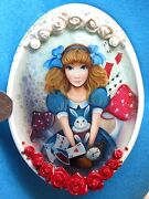 Lacquer Box Russian Alice In Wonderland White Rabbit Shell Signed Hand Painted