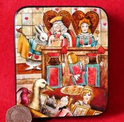 Shell Lacquer Box Hand Painted Alice Queen King White Rabbit Stole Tarts Signed