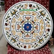 36and039and039 White Marble Table Top Coffee Center Room Decor Inlay Handmade Malachite