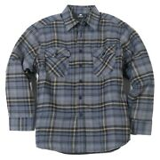 Yago Menand039s Plaid Flannel Button Up Casual Shirt Jacket Grey/beige 14d S-5xl