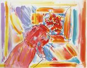 Peter Max At The Picture Lithograph Signed In Pencil