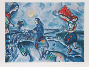 Marc Chagall Giving The Bouquet Lithograph Facsimilie Signed