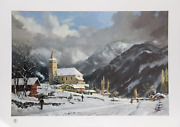 Thomas Kinkade Winter Chapel Offset Lithograph Signed And Numbered In Marker