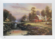 Thomas Kinkade Sunset At Riverbend Farm Offset Lithograph Signed And Numbered
