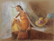 Thomas Strickland Woman At The Window Pastel On Paper