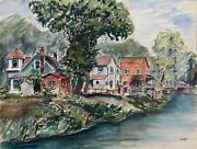 Max Kuehne Lakeside Houses Double-sided Watercolor Signed L.r.