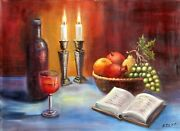 N Zilka Still Life With Candles Oil On Canvas Signed