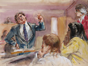Marshall Goodman 15 - Five Figures Dramatic Lawyer With Purple Tie Watercolor