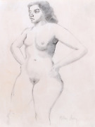 Milton Avery Nude Pencil On Paper Signed