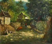 Hua You Zhong, On The Farm, Oil On Canvas, Signed And Dated