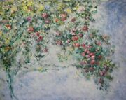 Michael Schreck Homage To Monetand039s Roses Acrylic On Canvas Signed L.r.