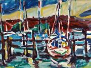 Alfred Sandford Boats In The Harbor No. 2 Acrylic On Arches Estate Stamped Ve