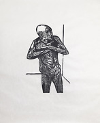 Leonard Baskin A Frightened And Terrified Man Woodcut On Rice Paper Signed An