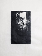 Leonard Baskin Eakins Woodcut Print On Rice Paper Signed And Numbered In Penc