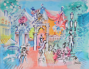 Charles Cobelle Paris Street Statues Acrylic On Canvas Signed