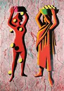 Mark Kostabi Two Cultures - Red Screenprint Signed And Numbered In Pencil