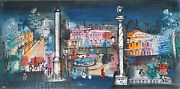 Charles Cobelle Paris At Night Acrylic On Canvas Signed L.r.