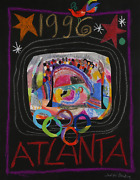 Judith Bledsoe Atlanta Olympics Stadium Pastel And Collage On Paper Signed L.