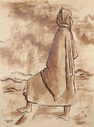 Laurent Marcel Salinas Bedouin Woman 335 Wash And Ink On Paper Signed L.l.
