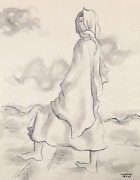 Laurent Marcel Salinas Bedouin Woman 336 Wash And Ink On Paper Signed L.r.